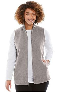 Woman Within Plus Size Zip-Front Microfleece Vest - Medium H