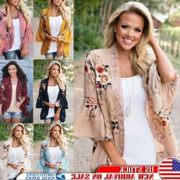 Plus Size Womens Lace Floral Kimono Holiday Cardigan Lady Su