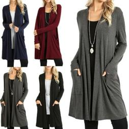 Plus Size Womens Long Sleeve Cardigan Oversized Casual Coat