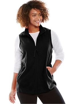 Woman Within Plus Size Zip-Front Microfleece Vest - Black, 1