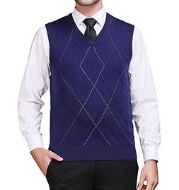 Zicac Men's Pullover Sweater Vest V-Neck Knitted Waistcoat A
