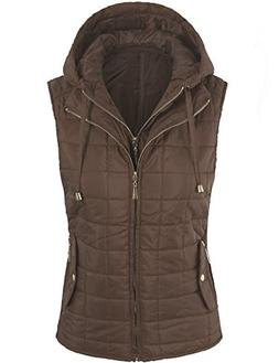 BOHENY Womens Quilted Fully Lined Lightweight Vest with Hood