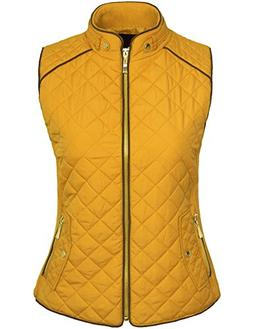 KOGMO Womens Quilted Fully Lined Lightweight Zip up Vest S-3