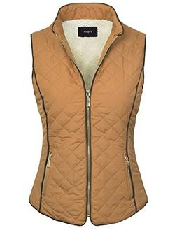 BOHENY Womens Quilted Fully Lined Lightweight Zip Up Vest wi