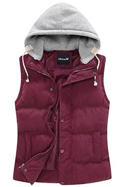 Wantdo Women's Quilted Padded Vest with Removable Hood US La