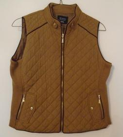 Active USA Quilted Padded Vest Full Zipper Brown Women's Siz
