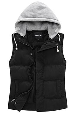 Wantdo Women's Quilted Padded Vest with Removable Hood US Me
