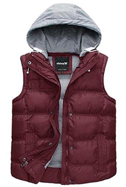 Wantdo Women's Quilted Padding Puffer Vest Outwear with Remo