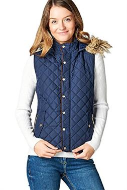 Active USA Quilted Padding Vest with Fur Trimmed Hood