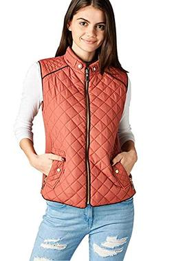 Active USA Quilted Padding Vest With Suede Piping Details Si