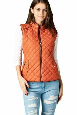Active USA Quilted Padding Vest with Suede Piping Details