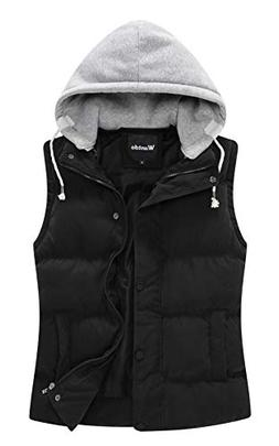 Wantdo Women's Quilted Puffer Vest with Removable Hood US Sm