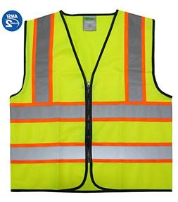 GripGlo Reflective Safety Vest Bright Neon Color with 2 Inch