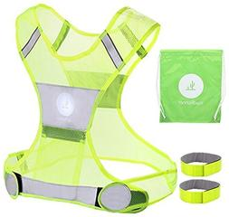 Reflective Vest for Running or Cycling Including Two 3M Scot