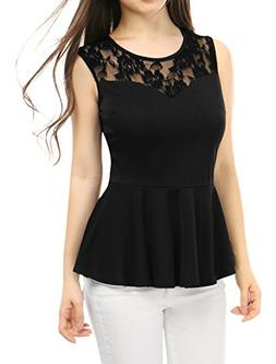 Allegra K Women's Round Neck Hollow Out Sleeveless Leisure P