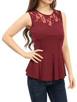 Allegra K Women's Round Neck Lace-Paneled Sleeveless Christm