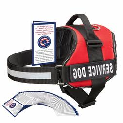 SERVICE DOG VEST HARNESS W/ 50 FOLDED ADA CARDS, Red, Pink,