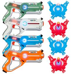 Set of 4 Infrared Laser Tag Blasters with Vests - Multiplaye