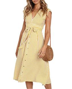AELSON Women Sexy Deep V-Neck Button Down Sleeveless Stripes