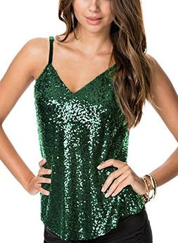 Ofenbuy Womens Sexy Sleeveless Sequin Embellished Sparkle Ta