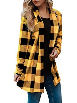 Sysea Women's Shawl Collar Striped Cardigan Long Sleeve Elbo