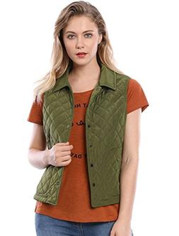Allegra K Women's Single Breasted Lightweight Gilet Quilted