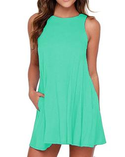 Women's Sleeveless Dress Pockets Casual Swing T-Shirt Summer