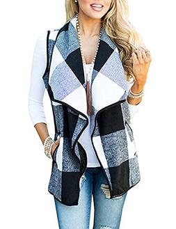 Yanekop Womens Sleeveless Open Front Hem Plaid Vest Cardigan