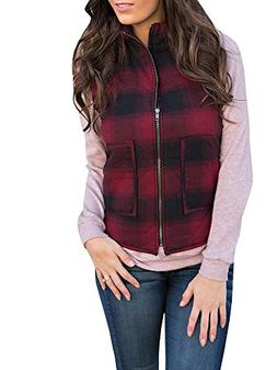 FISACE Women's Sleeveless Zip-up Plaid Quilted Vest Coats Ja