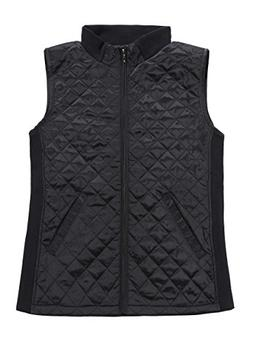 Bienzoe Women Slim Casual Zip Quilted Sleeveless Light Weigh