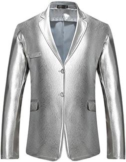 Sportides Men's Slim Fit Casual Bling Shiny Two Button Blaze