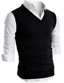 Ohoo Mens Slim Fit Casual V-Neck Knit Vest/DCV010-BLACK-S