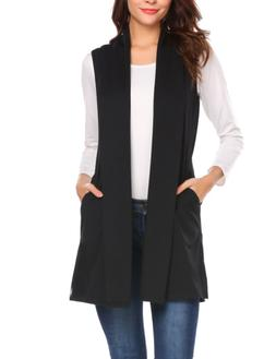 Beyove Women's Soft Sleeveless Draped Open Front Cardigan Bl