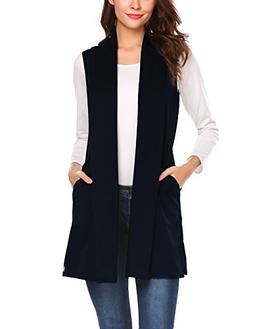 Beyove Women's Solid Sleeveless Solid Color Drape Open Cardi