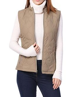 Allegra K Women's Stand Collar Mock Pockets Zipper Quilted P