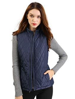 Allegra K Women's Stand Collar Zip Up Front Quilted Padded V