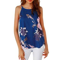 Gillberry Women Summer Floral Vest Sleeveless Blouse Casual
