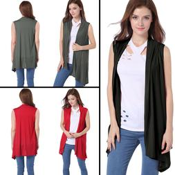 Summer Women's Solid Color Sleeveless Asymetric Hem Open Fro