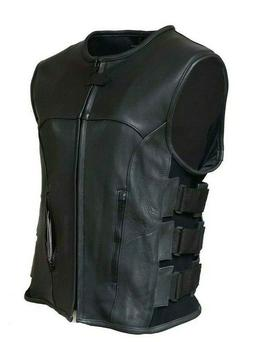 Swat Style Leather Vest Mens Motorcycle Biker Tactical Black