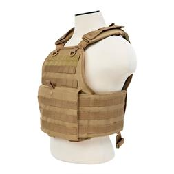NcSTAR Tan Police Military Tactical MOLLE Adj Plate Carrier