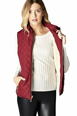 Active USA Women's Quilted Vest w/ Suede Piping, Burgundy, M