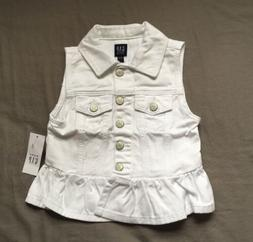 Toddler Girl Size 3 3T Baby Gap White Snap Peplum Denim Vest