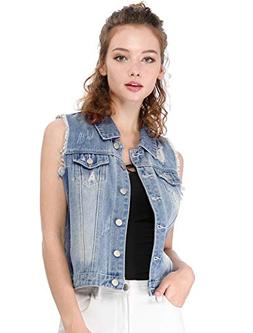Allegra K Women's Turn Down Collar Button Closure Denim Wash