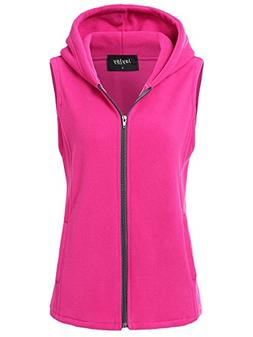 JayJay Women Ultra Soft Fleece Sleeveless Hoodie Vest,Fuchsi