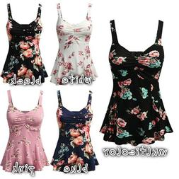 US Stock PLUS SIZE Women Summer Floral Print Sleeveless Vest
