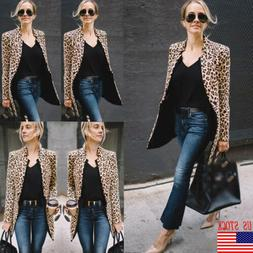 US Women Ladies Leopard Jacket Coats Zip Up Lapel Suit Casua