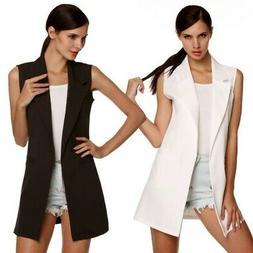 US Women Open Front Sleeveless Long Vest Cardigan Coat Blaze