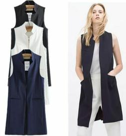 US Women Open Front Sleeveless Long Vest Cardigan Coat Pocke