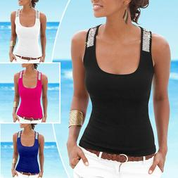 US Womens Ladies Summer Vest Top Sleeveless Blouse Casual Ta