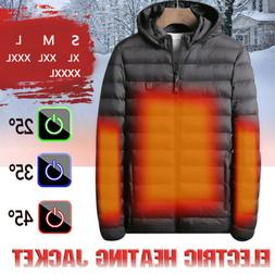 USB Electric Heated Coat Jacket Hooded Heating Vest Winter T